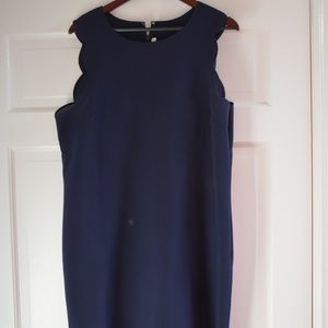 J.CREW Navy Scalloped Dress Size 16